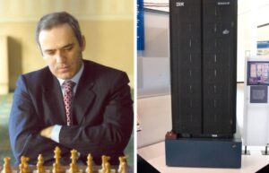 The AI-chess computer Deep Blue defeats chess world champion, Garry Kasparov