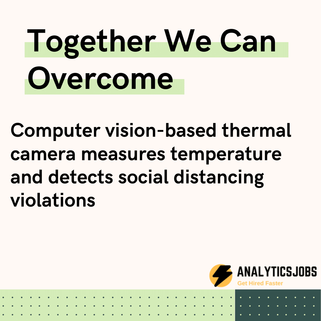 Computer vision-based thermal camera measures temperature and detects social distancing violations