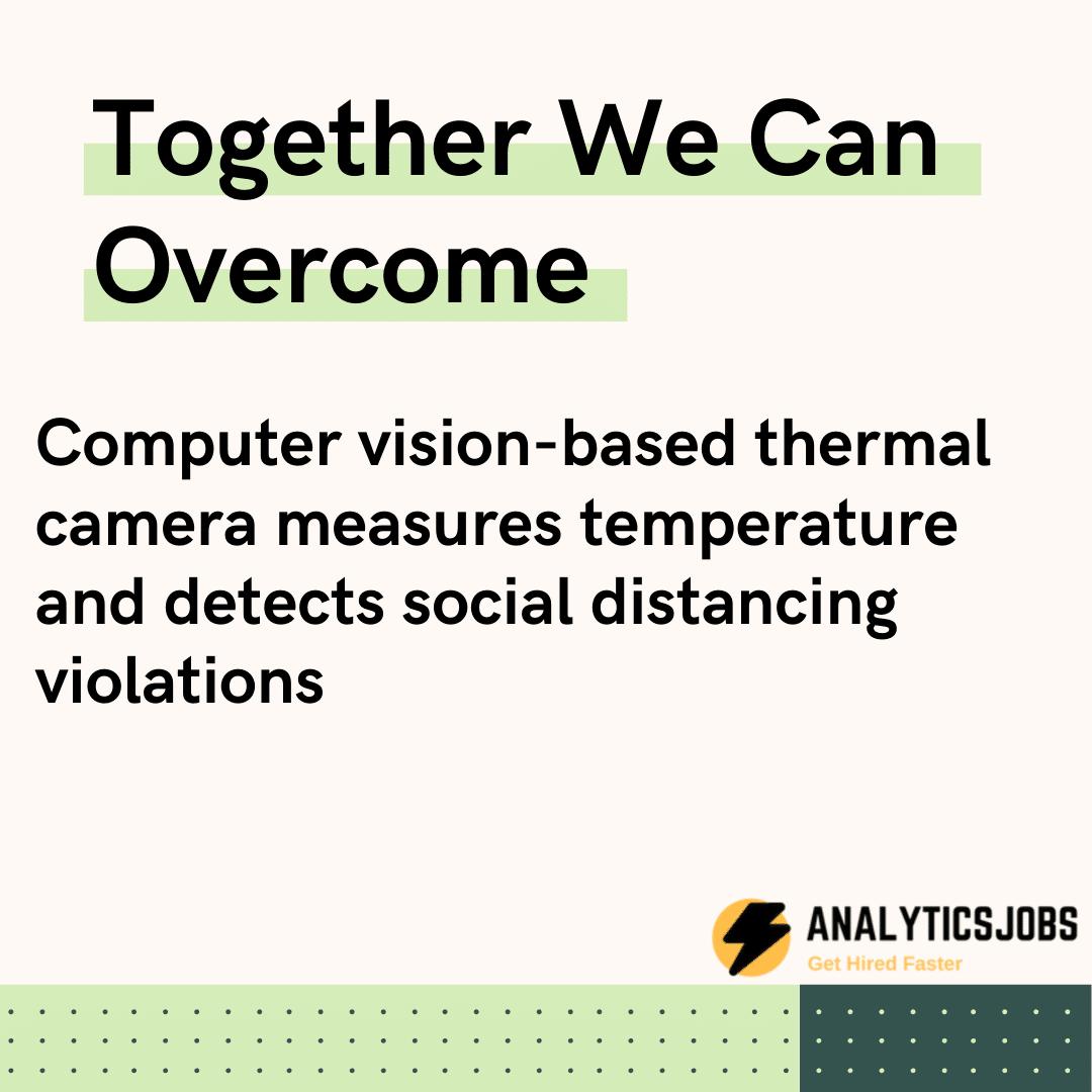 Computer vision-based thermal camera measures temperature and detects social distancing violations